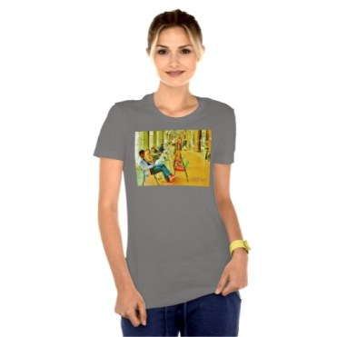 Pisa Afternoon at the Arcade, Women, Bella Favorite Jersey T-Shirt, Front, Model, Asphalt
